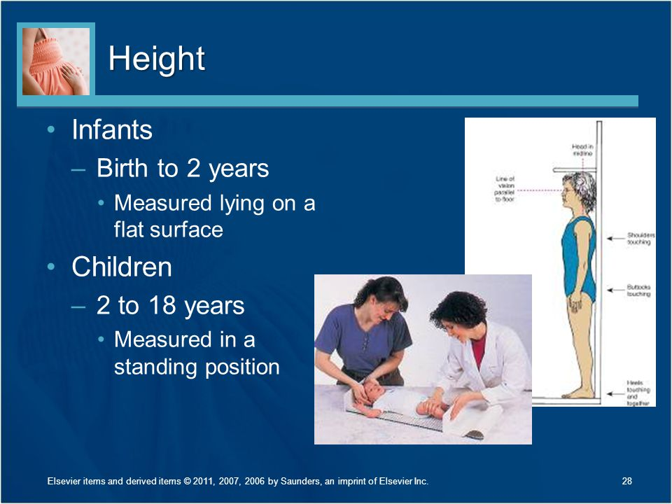 Height Infants Children Birth to 2 years 2 to 18 years