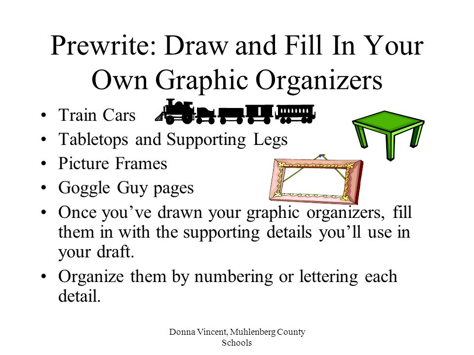 Prewrite: Draw and Fill In Your Own Graphic Organizers