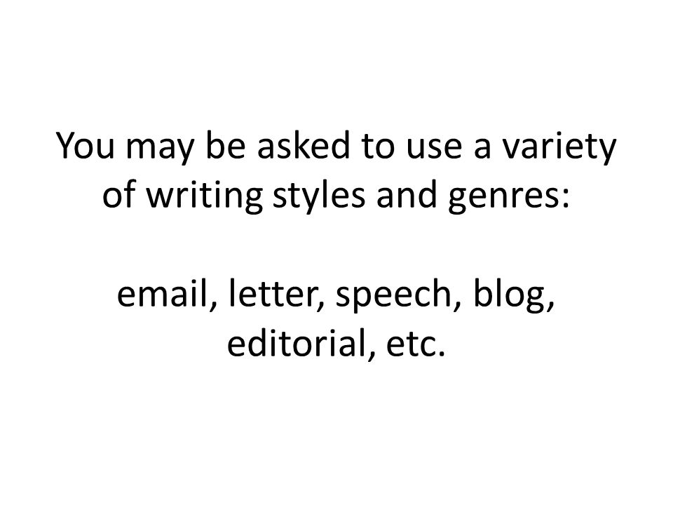You may be asked to use a variety of writing styles and genres:  , letter, speech, blog, editorial, etc.