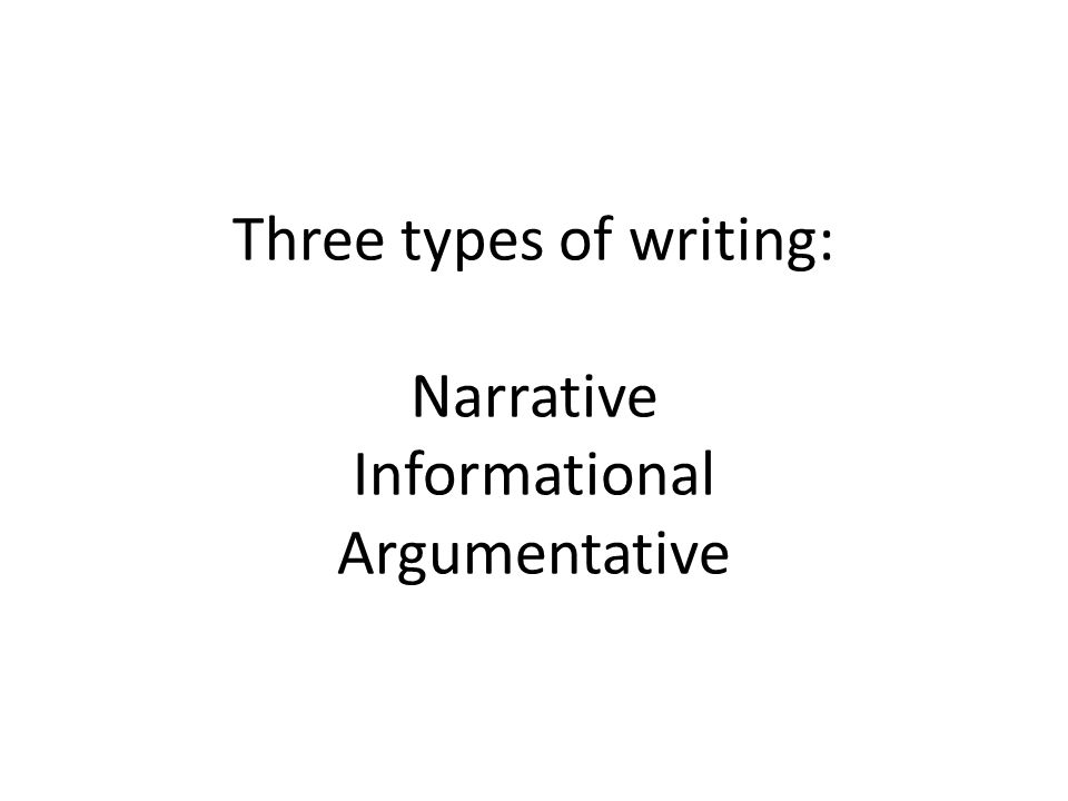 Three types of writing: Narrative Informational Argumentative