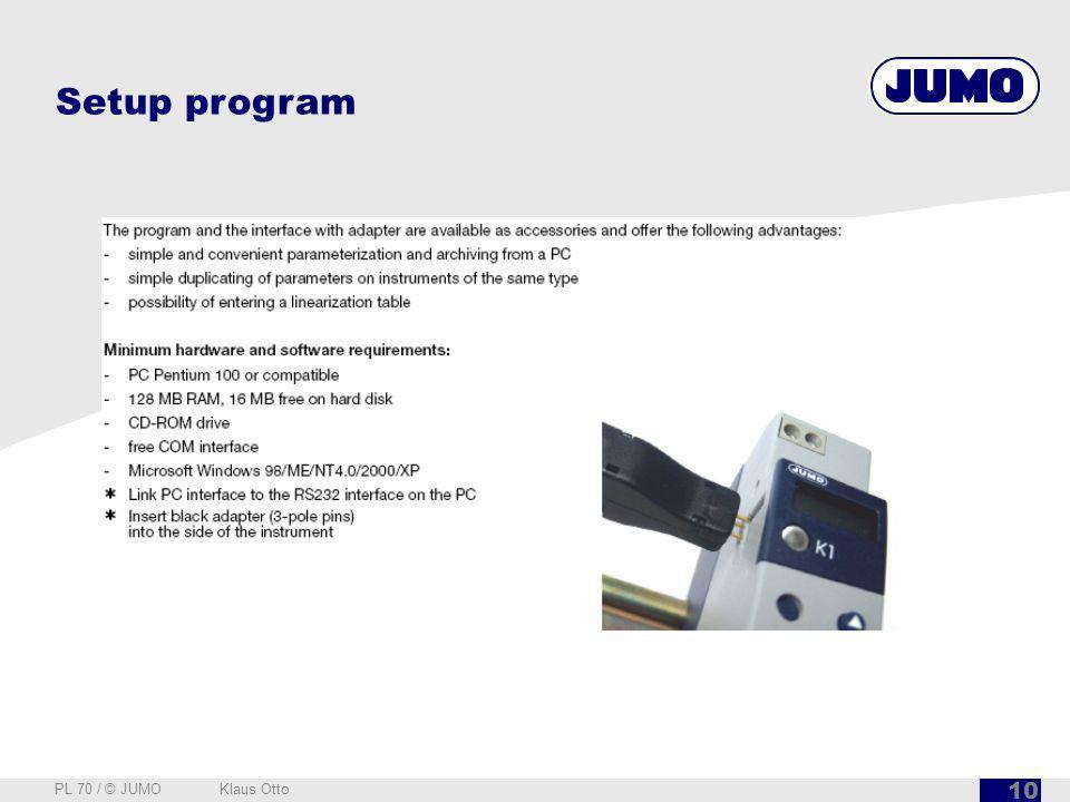 Setup program PL 70 / © JUMO Klaus Otto