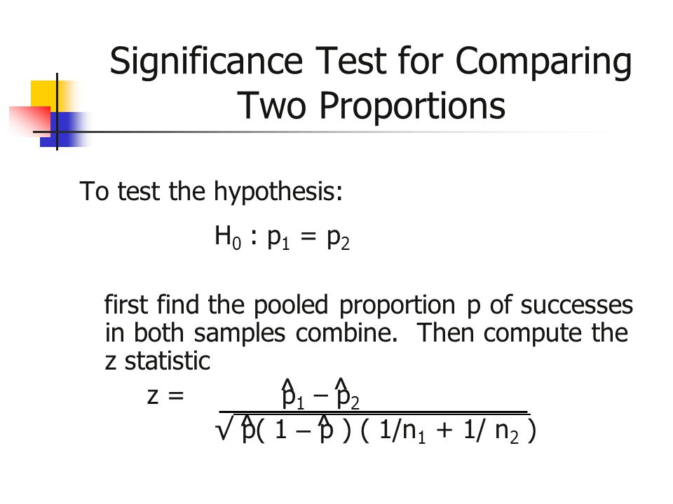 Significance Test for Comparing Two Proportions