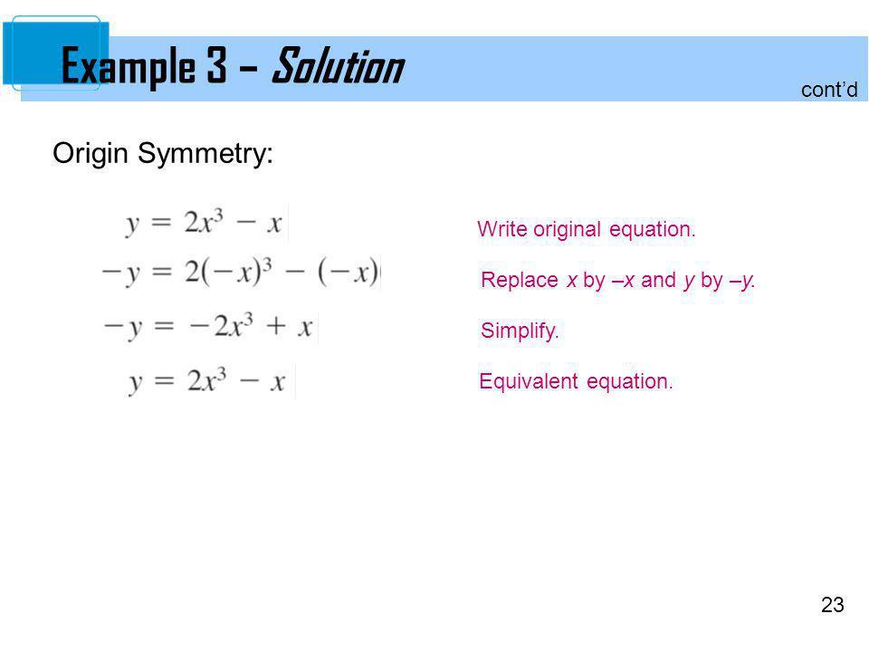 Example 3 – Solution Origin Symmetry: cont'd Write original equation.