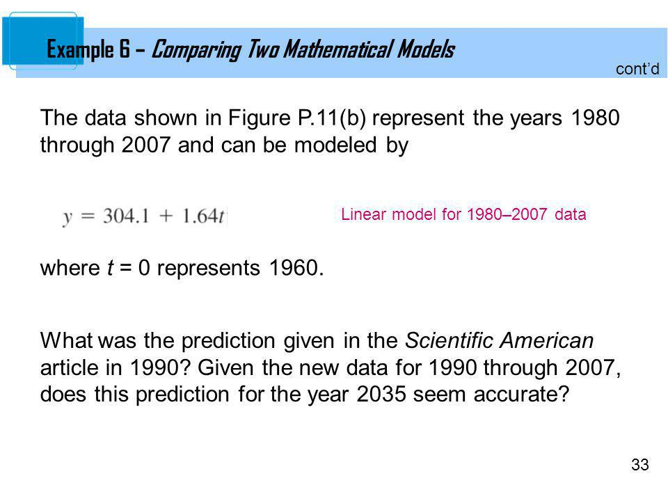 Example 6 – Comparing Two Mathematical Models
