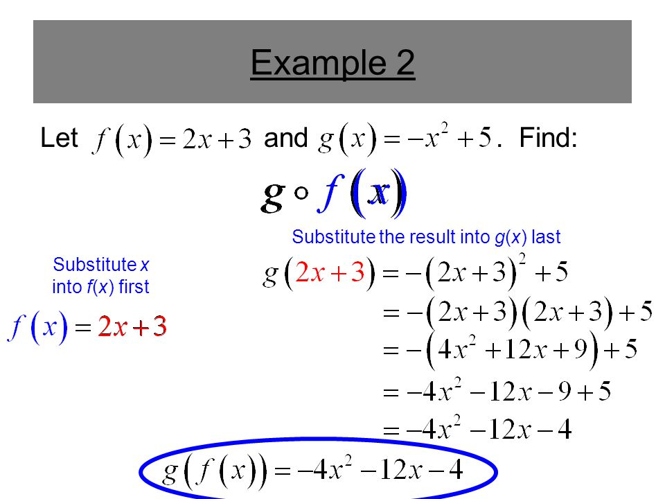 Example 2 Let and . Find: Substitute the result into g(x) last