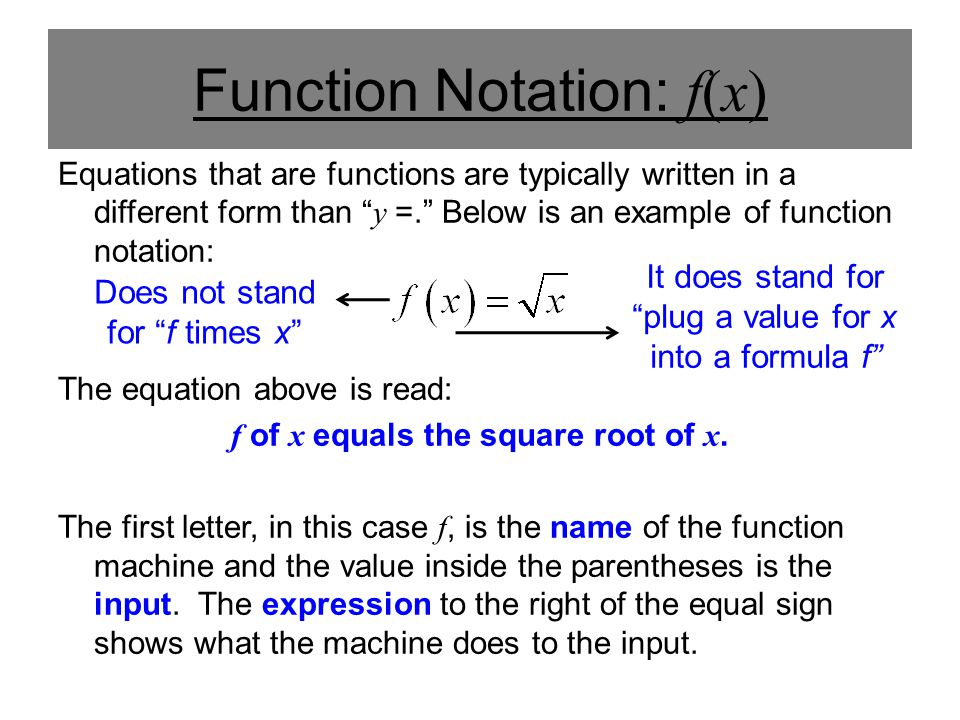 Function Notation: f(x)