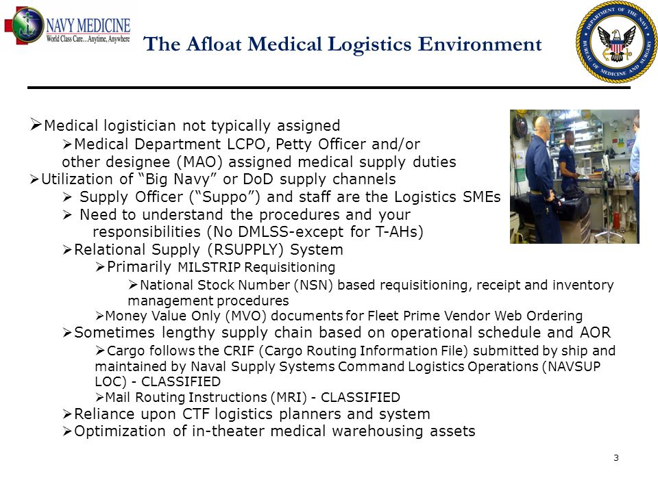 The Afloat Medical Logistics Environment