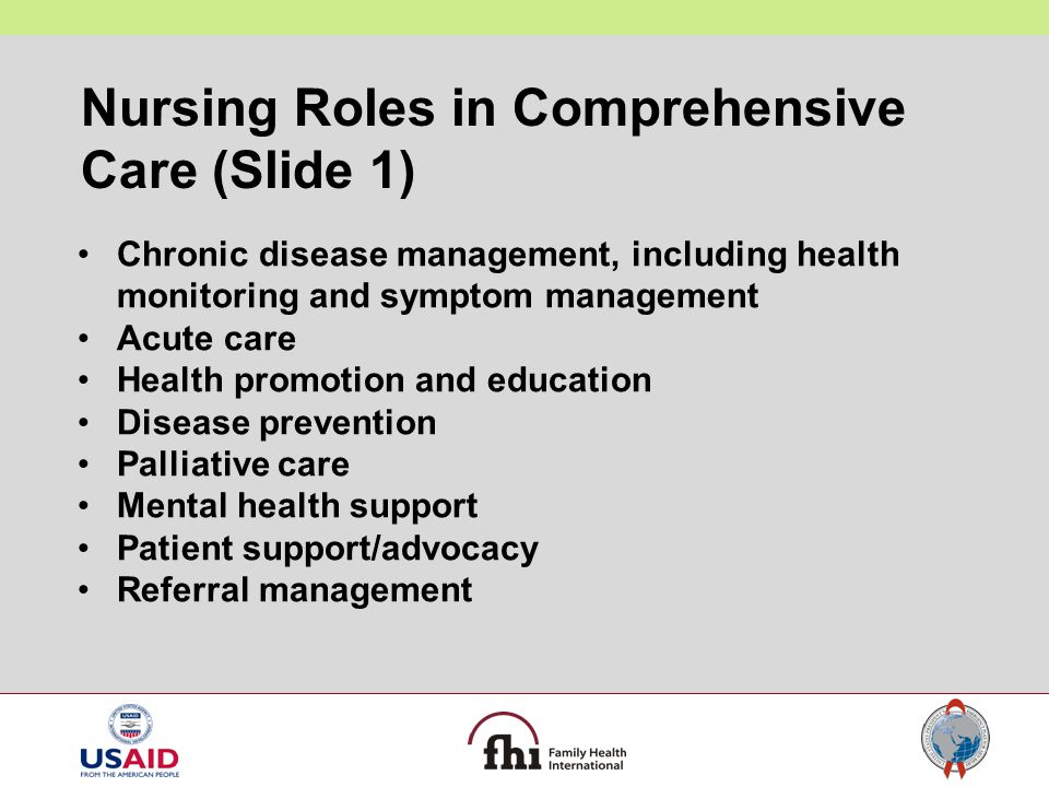 Nursing Roles in Comprehensive Care (Slide 1)
