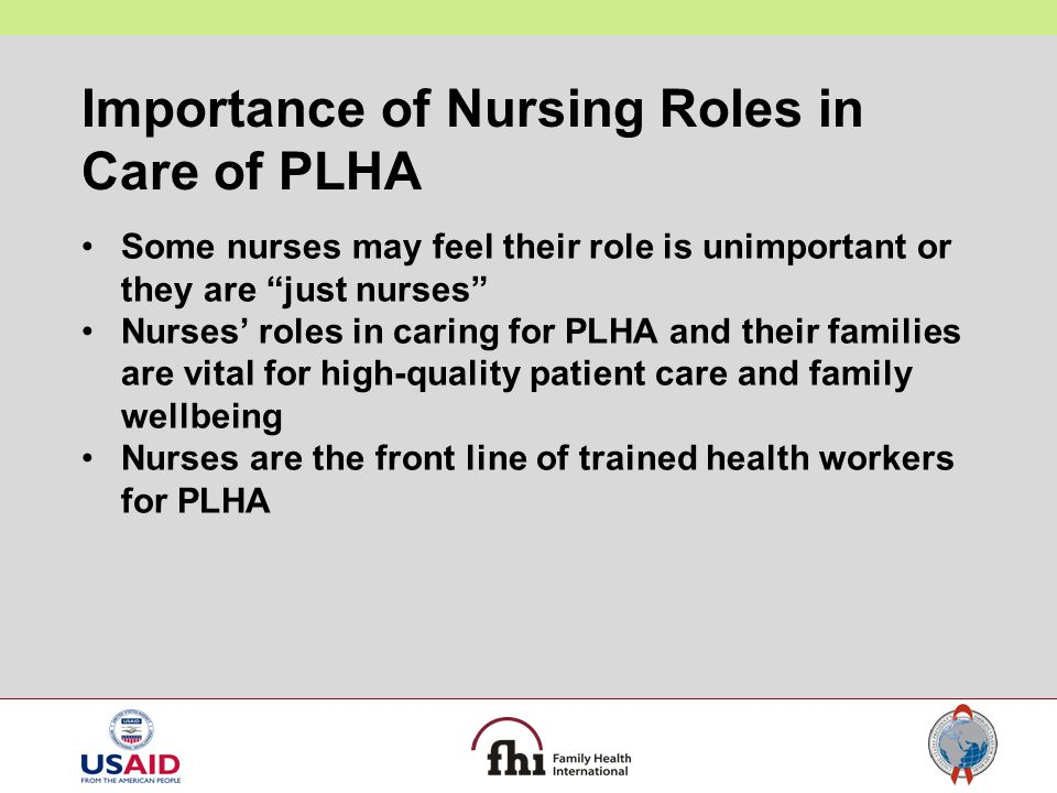 Importance of Nursing Roles in Care of PLHA