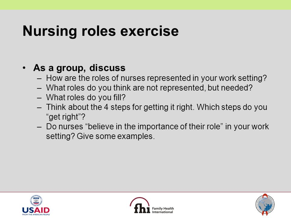Nursing roles exercise