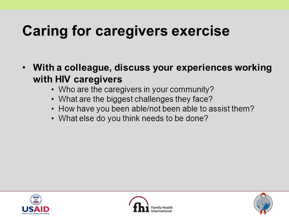 Caring for caregivers exercise