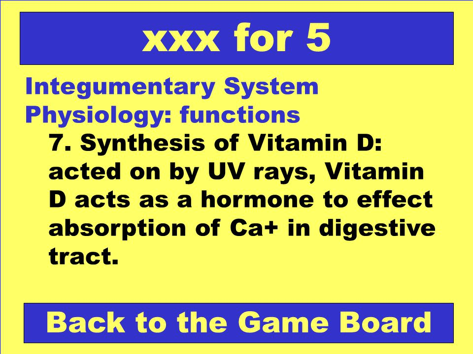 xxx for 5 Back to the Game Board