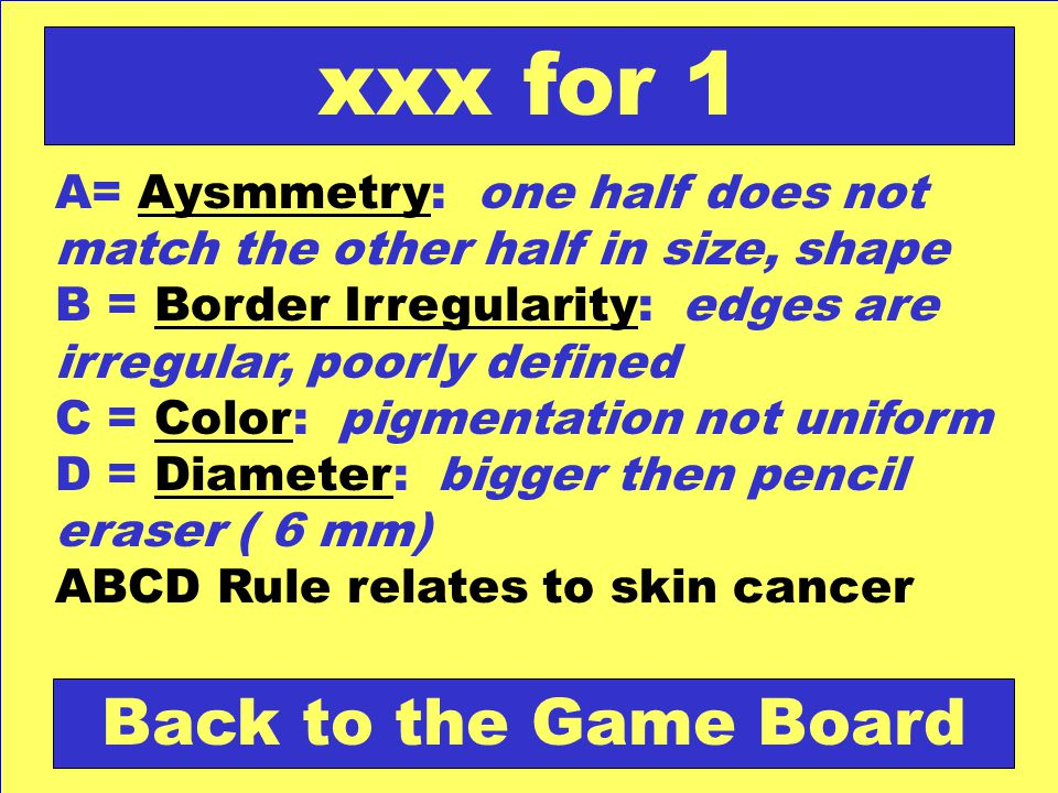 xxx for 1 Back to the Game Board