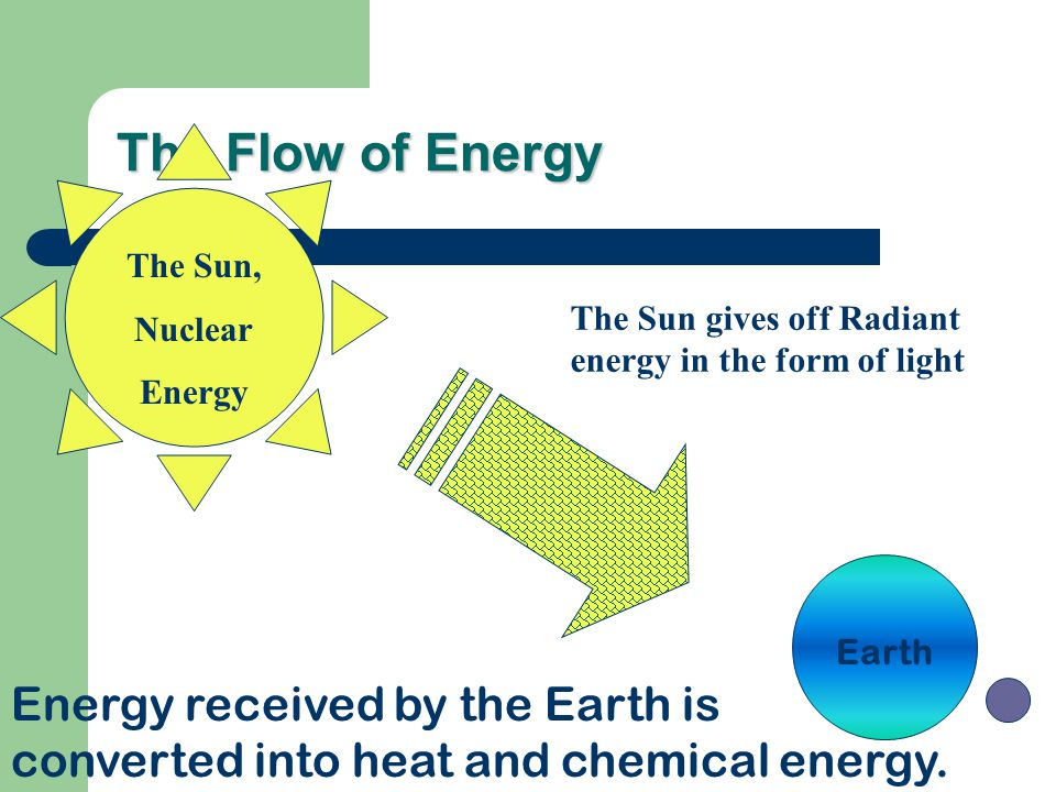 The Flow of Energy The Sun, Nuclear. Energy. The Sun gives off Radiant energy in the form of light.