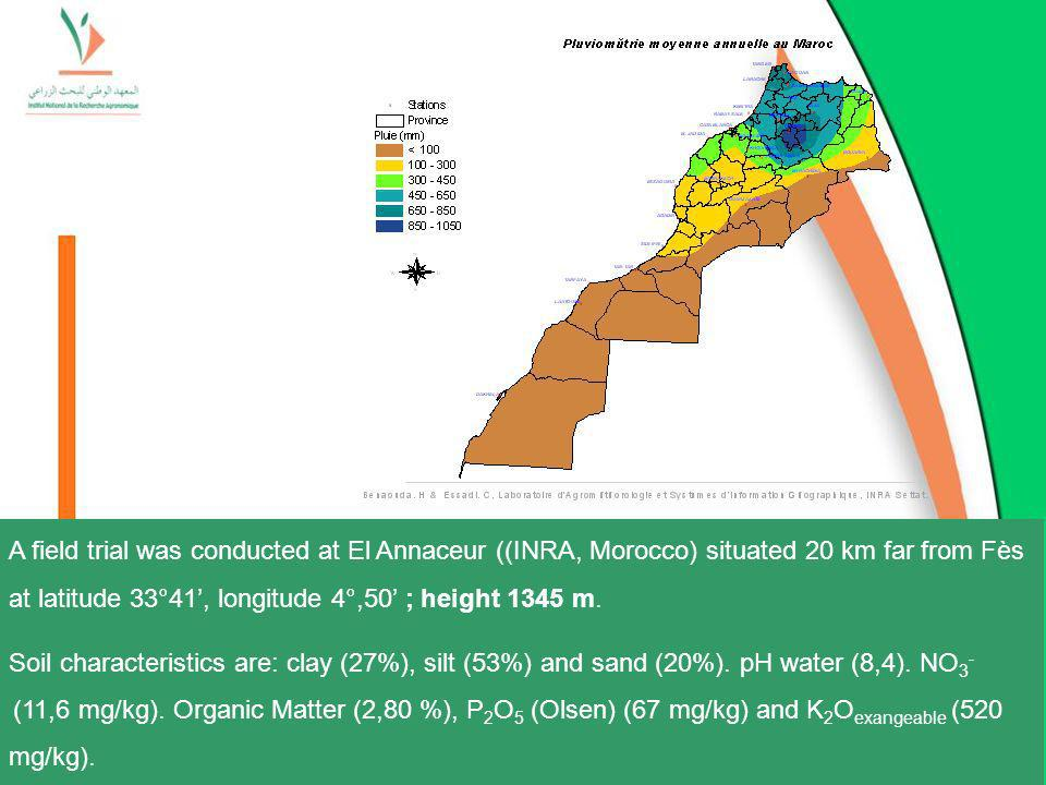 A field trial was conducted at El Annaceur ((INRA, Morocco) situated 20 km far from Fès at latitude 33°41', longitude 4°,50' ; height 1345 m.