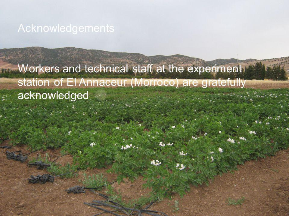 Acknowledgements Workers and technical staff at the experiment station of El Annaceur (Morroco) are gratefully acknowledged.