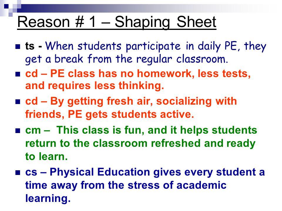 Reason # 1 – Shaping Sheet