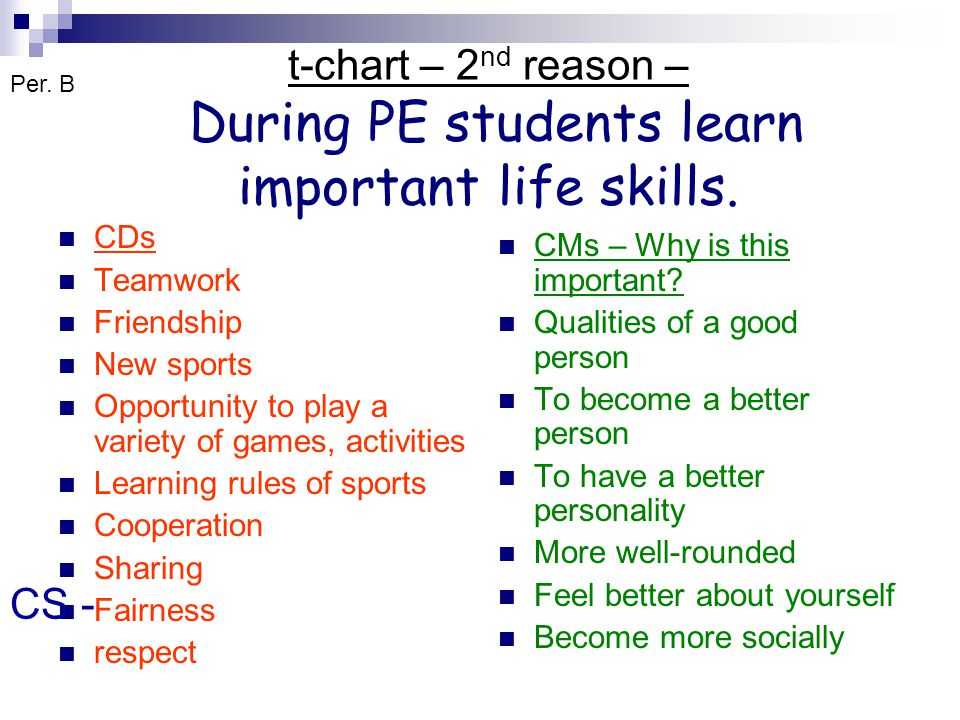 t-chart – 2nd reason – During PE students learn important life skills.