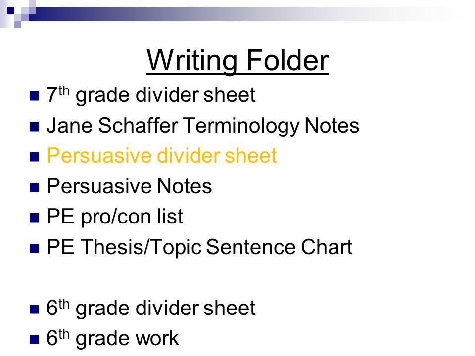 Writing Folder 7th grade divider sheet Jane Schaffer Terminology Notes