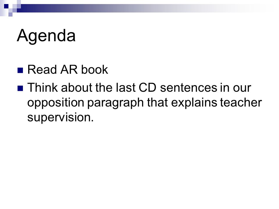 Agenda Read AR book.