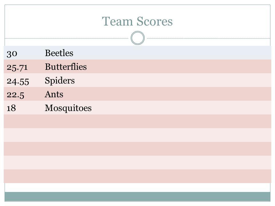 Team Scores 30 Beetles Butterflies Spiders 22.5 Ants 18