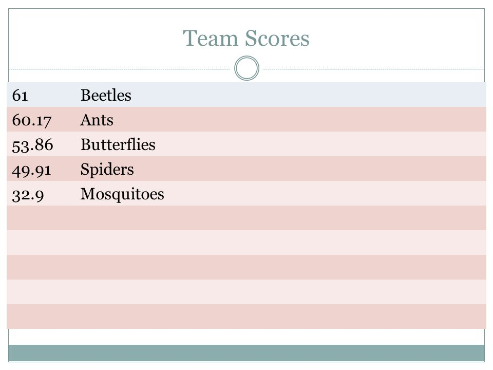 Team Scores 61 Beetles Ants Butterflies Spiders 32.9