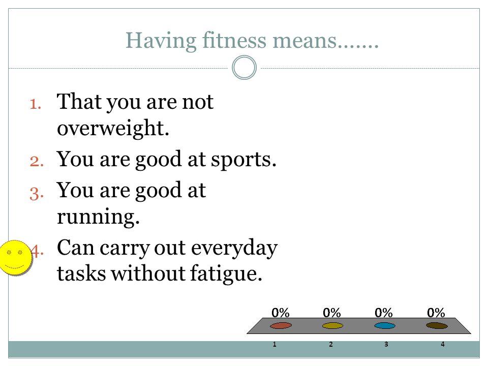 Having fitness means…….