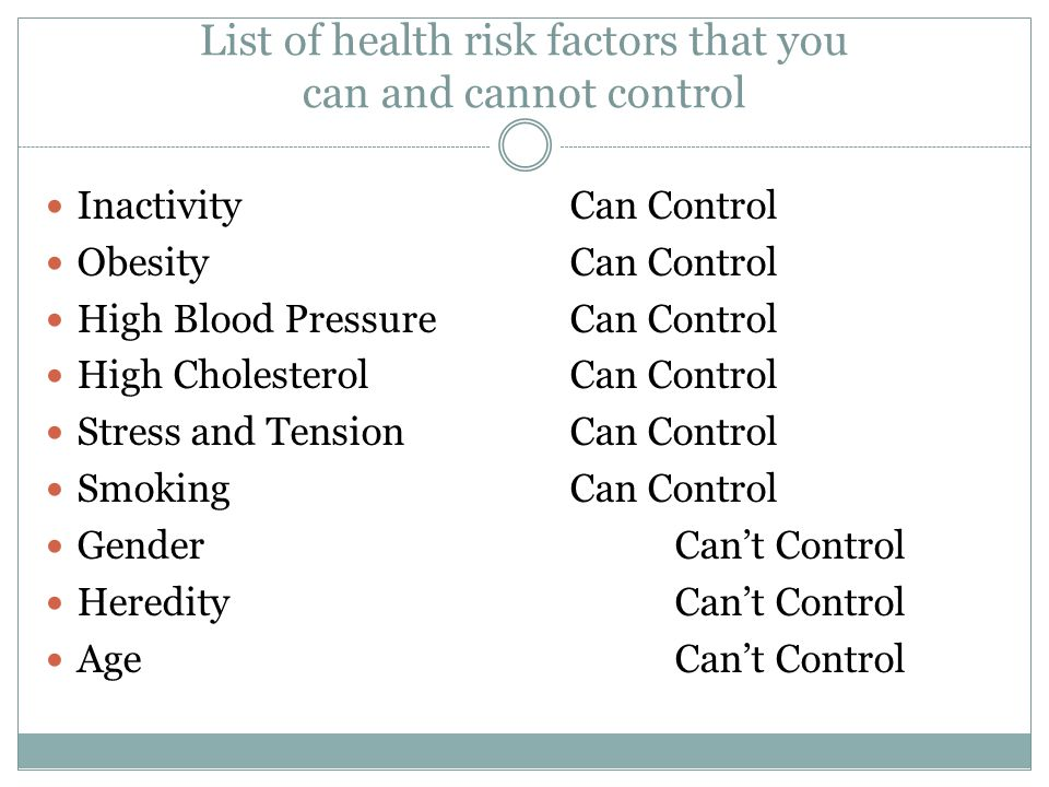 List of health risk factors that you can and cannot control