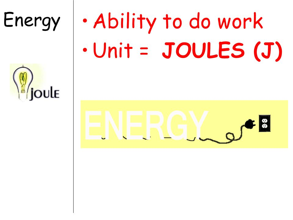 Energy Ability to do work Unit = JOULES (J)