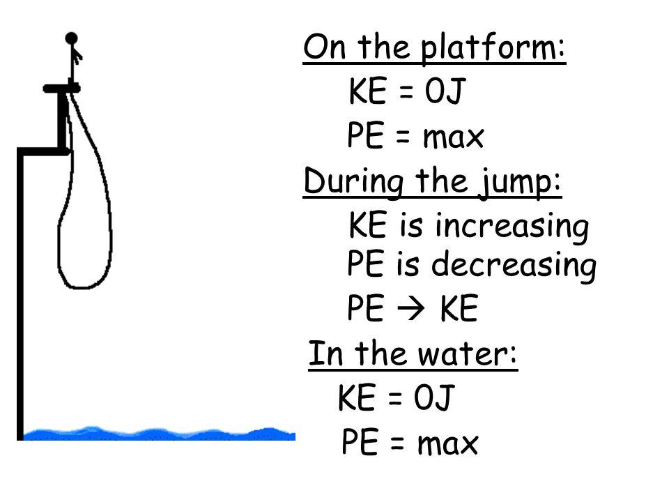 On the platform: KE = 0J. PE = max. During the jump: KE is increasing. PE is decreasing. PE  KE.