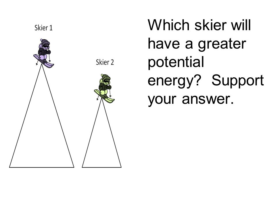 Which skier will have a greater potential energy Support your answer.