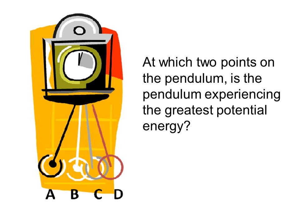 At which two points on the pendulum, is the pendulum experiencing the greatest potential energy