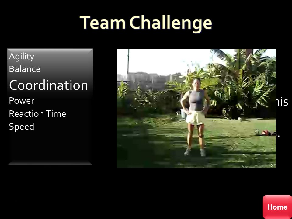 Team Challenge Coordination Everyone up-