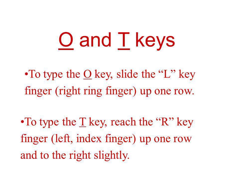 O and T keys To type the O key, slide the L key
