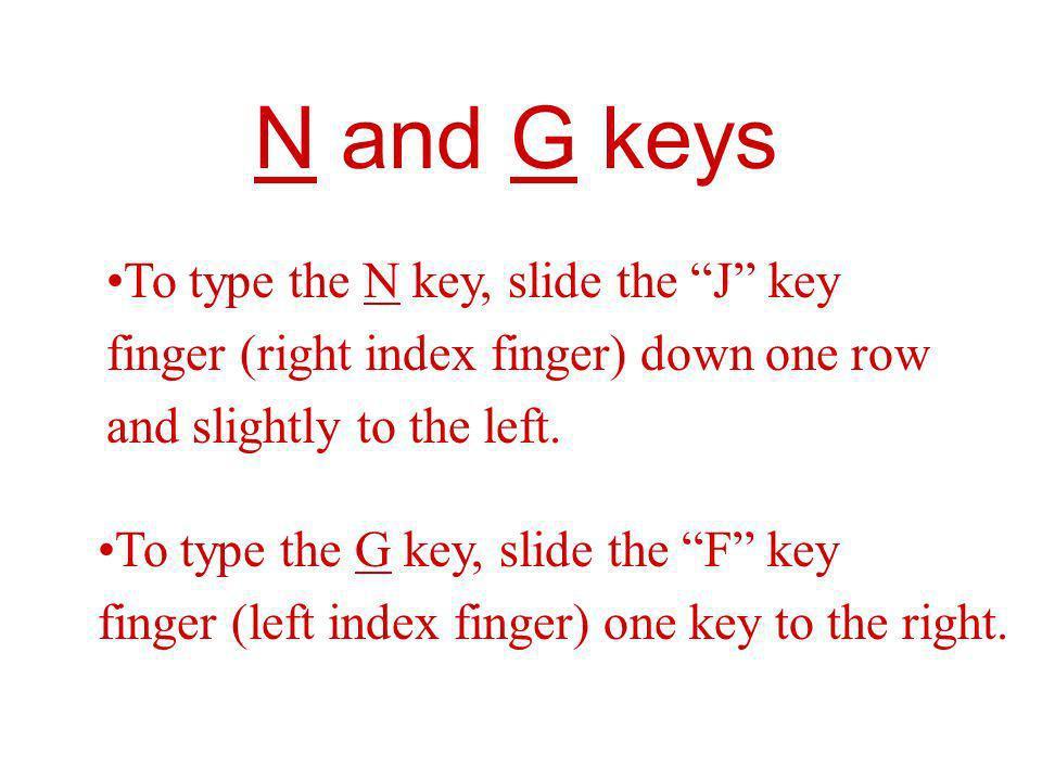 N and G keys To type the N key, slide the J key