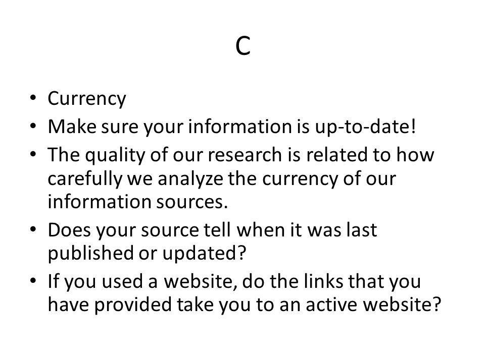 C Currency Make sure your information is up-to-date!