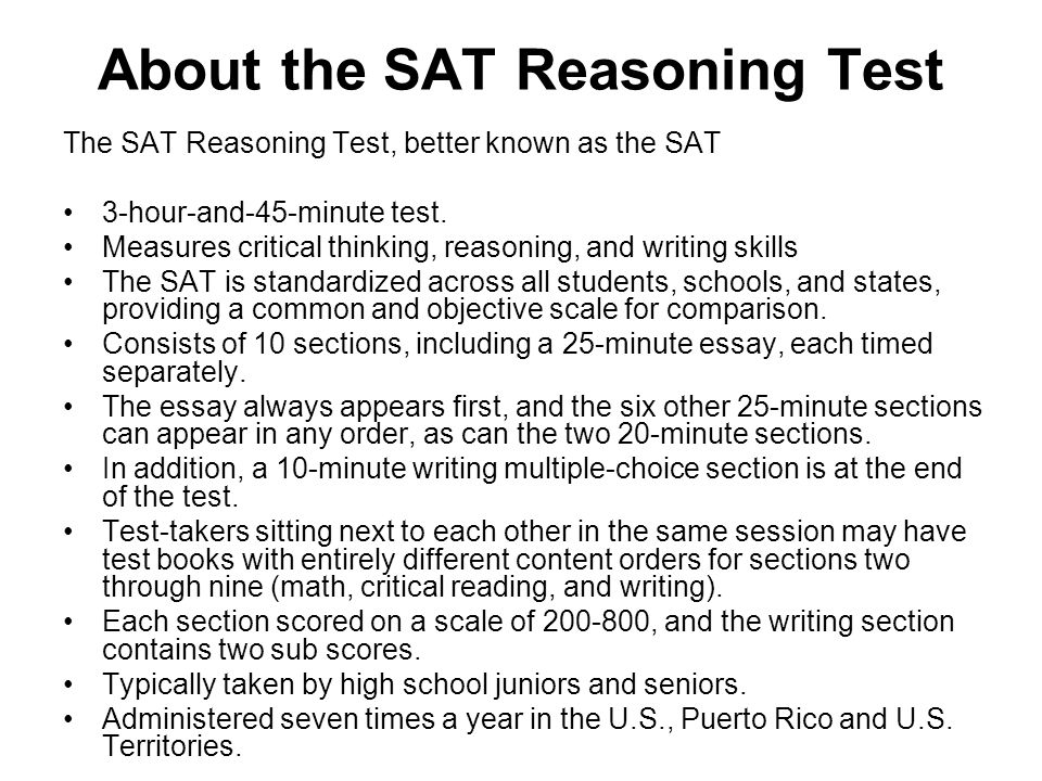 About the SAT Reasoning Test