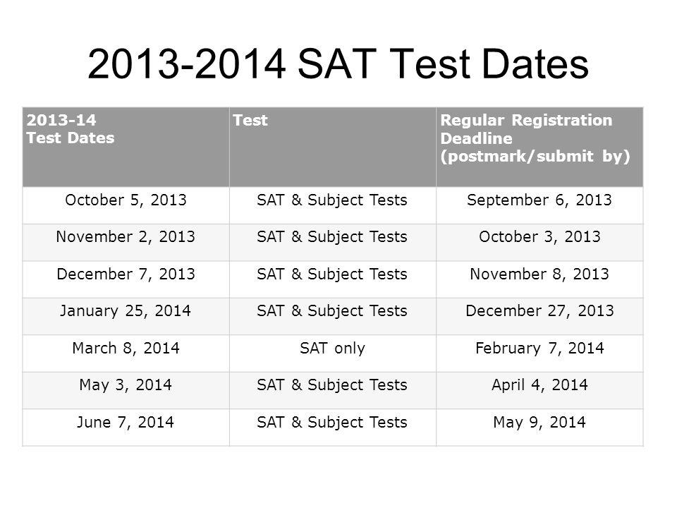 2013-2014 SAT Test Dates 2013-14 Test Dates Test