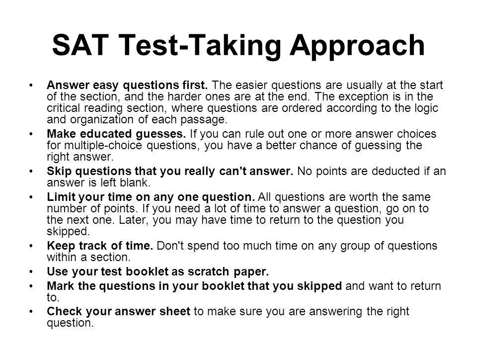 SAT Test-Taking Approach