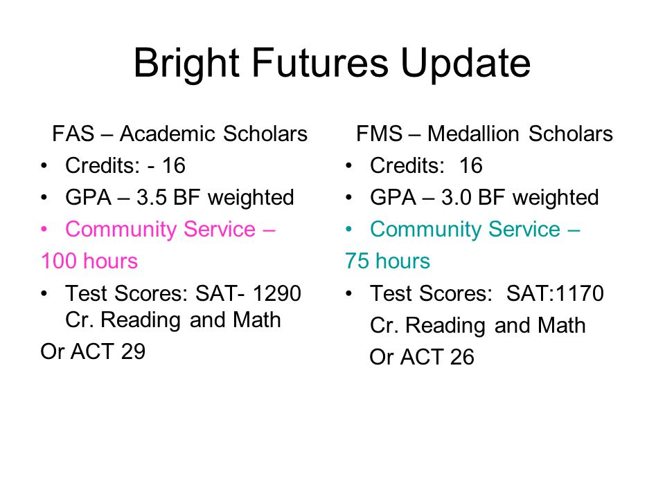 Bright Futures Update FAS – Academic Scholars Credits: - 16