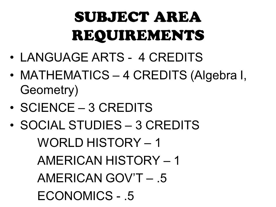 SUBJECT AREA REQUIREMENTS
