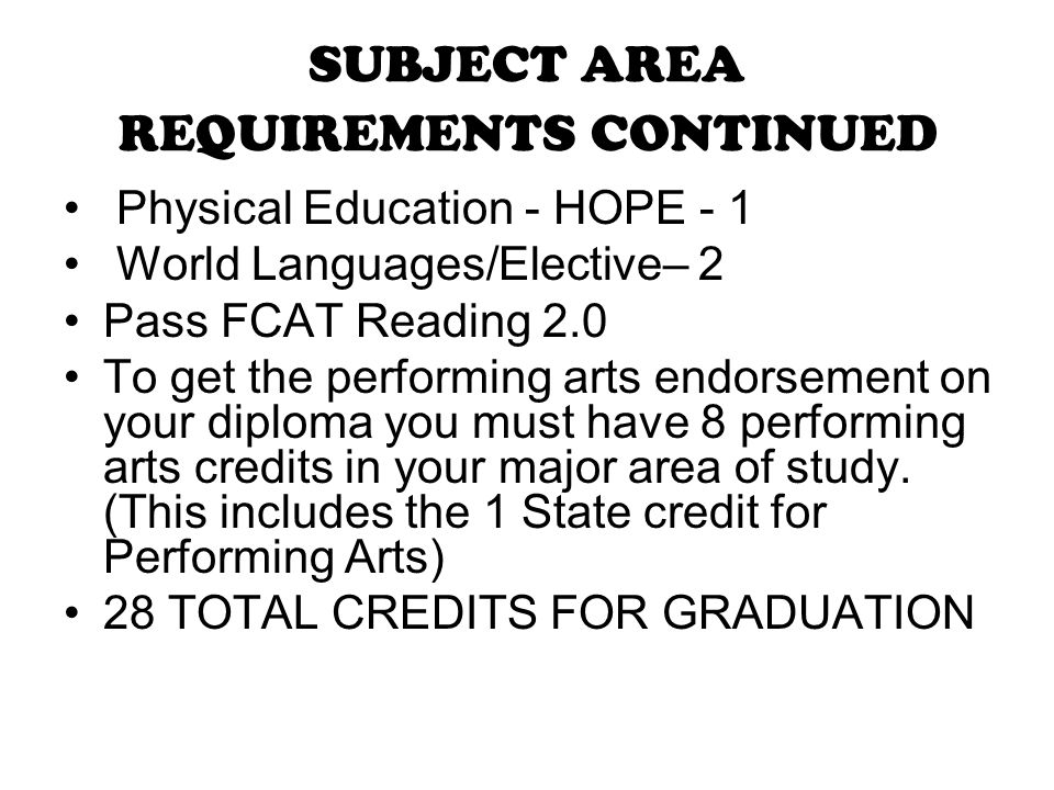 SUBJECT AREA REQUIREMENTS CONTINUED