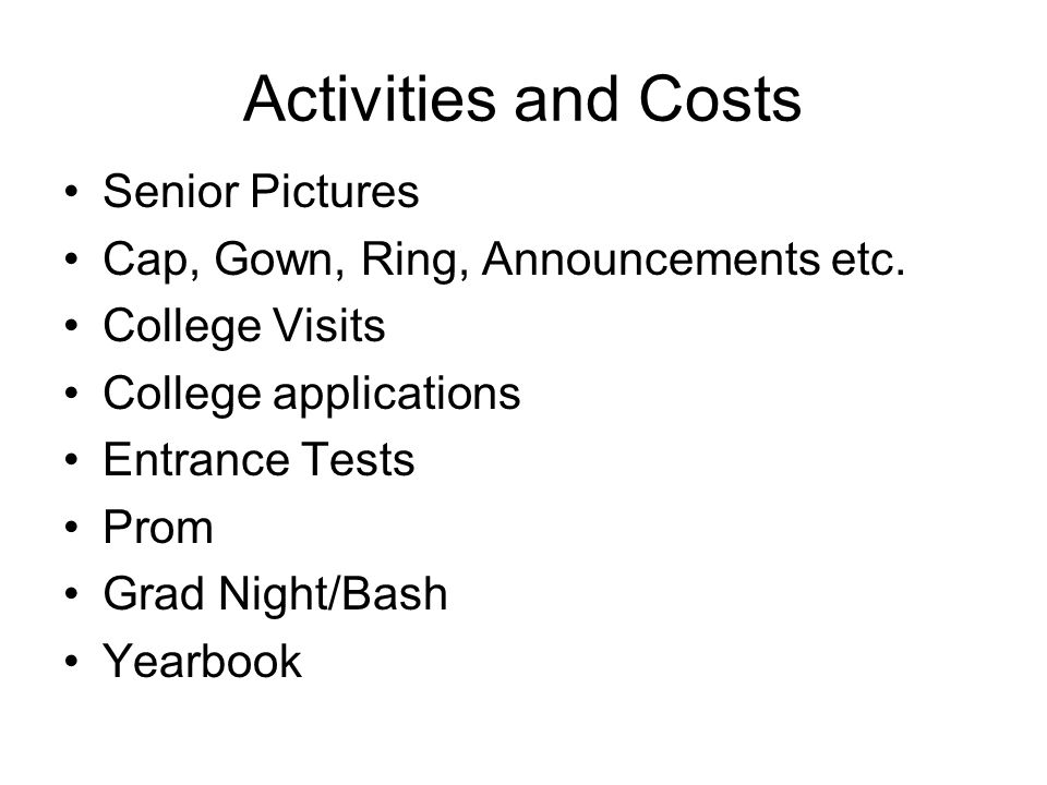 Activities and Costs Senior Pictures