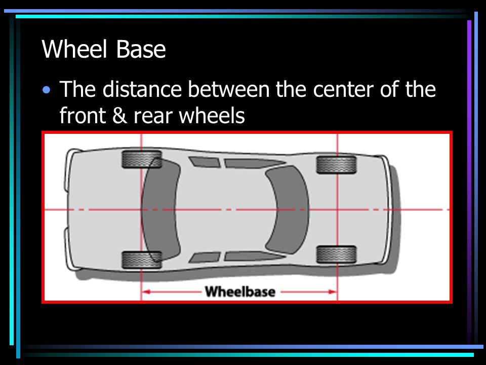 Wheel Base The distance between the center of the front & rear wheels