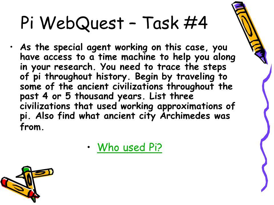 Pi WebQuest – Task #4 Who used Pi