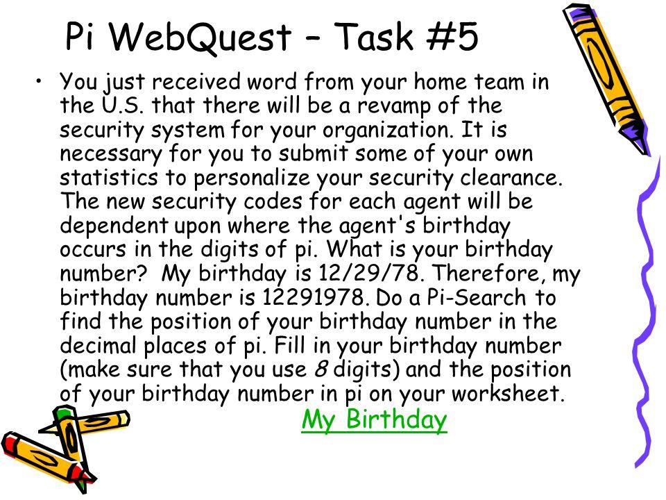 Pi WebQuest – Task #5