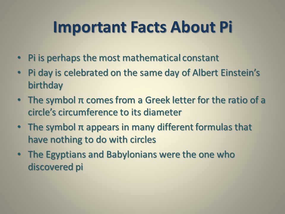 Important Facts About Pi