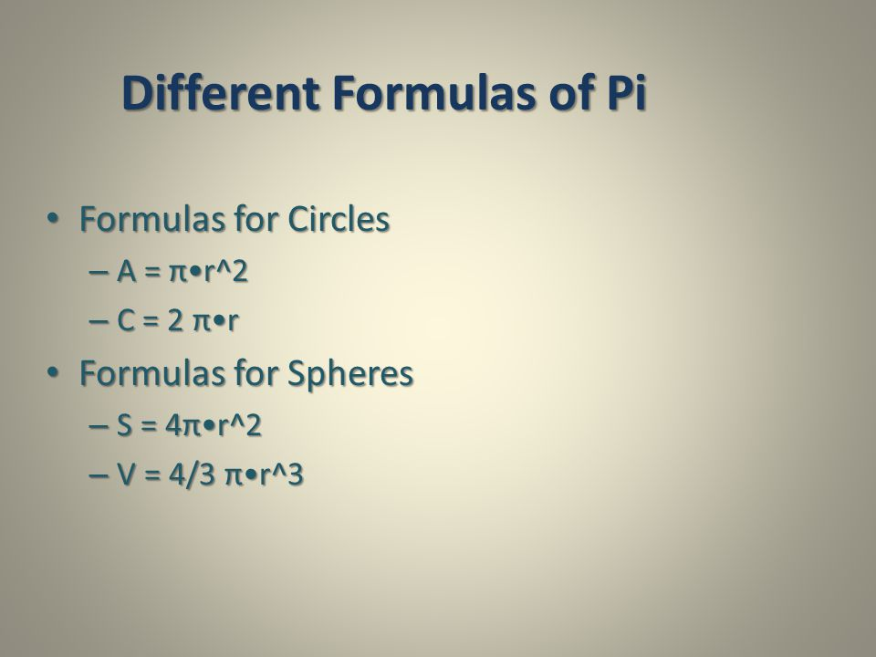 Different Formulas of Pi
