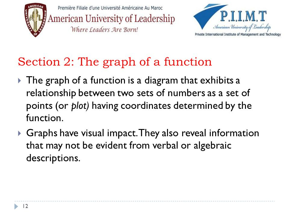 Section 2: The graph of a function
