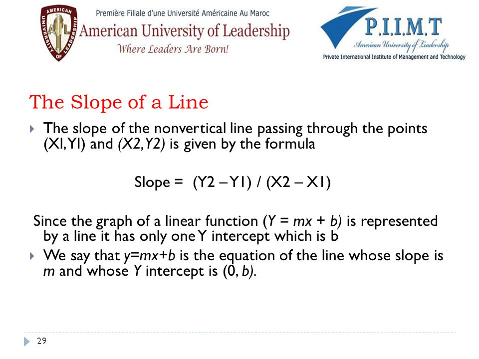 The Slope of a Line The slope of the nonvertical line passing through the points (Xl, YI) and (X2, Y2) is given by the formula.